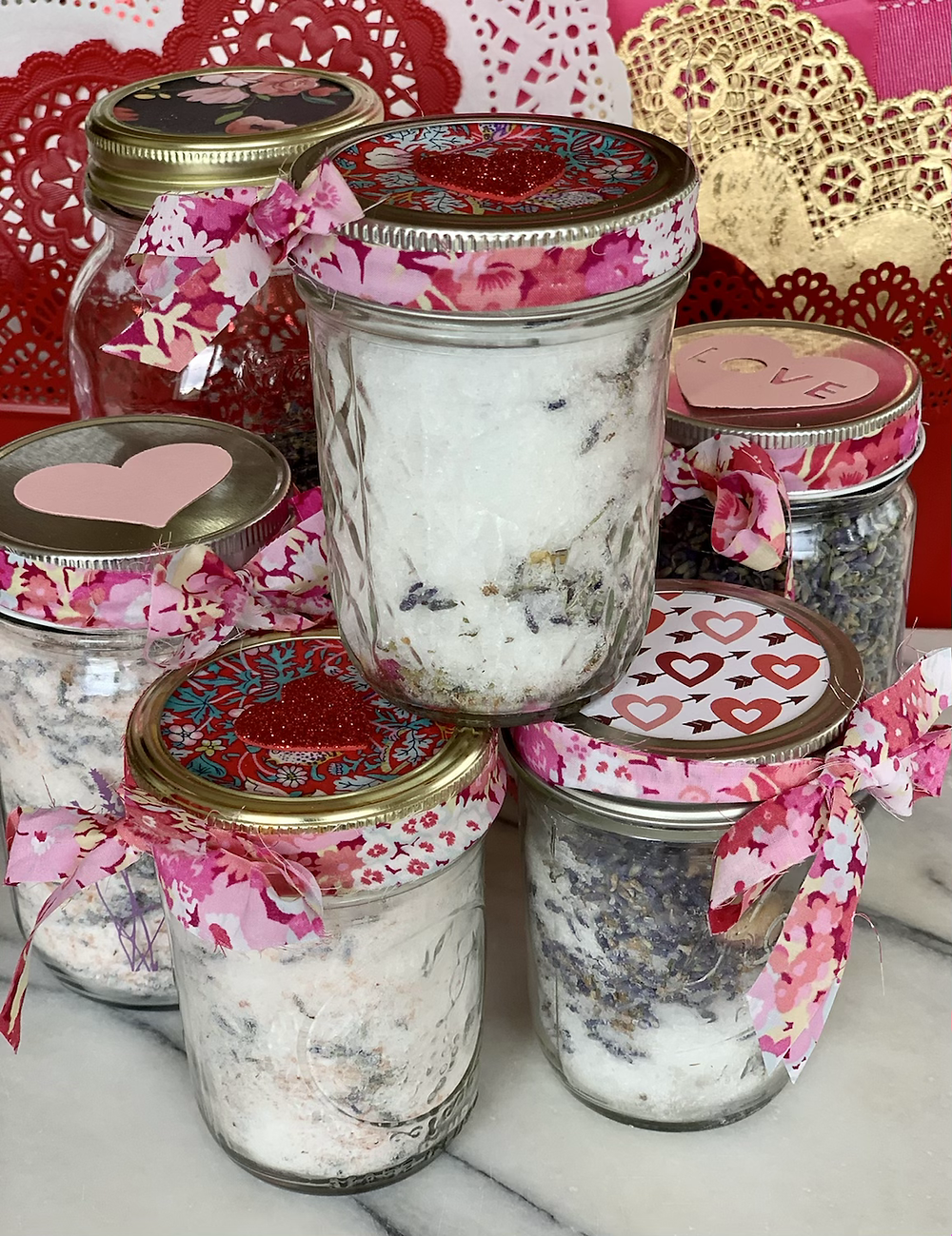 homemade bath salts with epsom salt, baking soda, sea salt and dried herbs for valentine's day gift