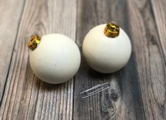 Set of 2 - 3D Ball Ornaments w/Gold Cap