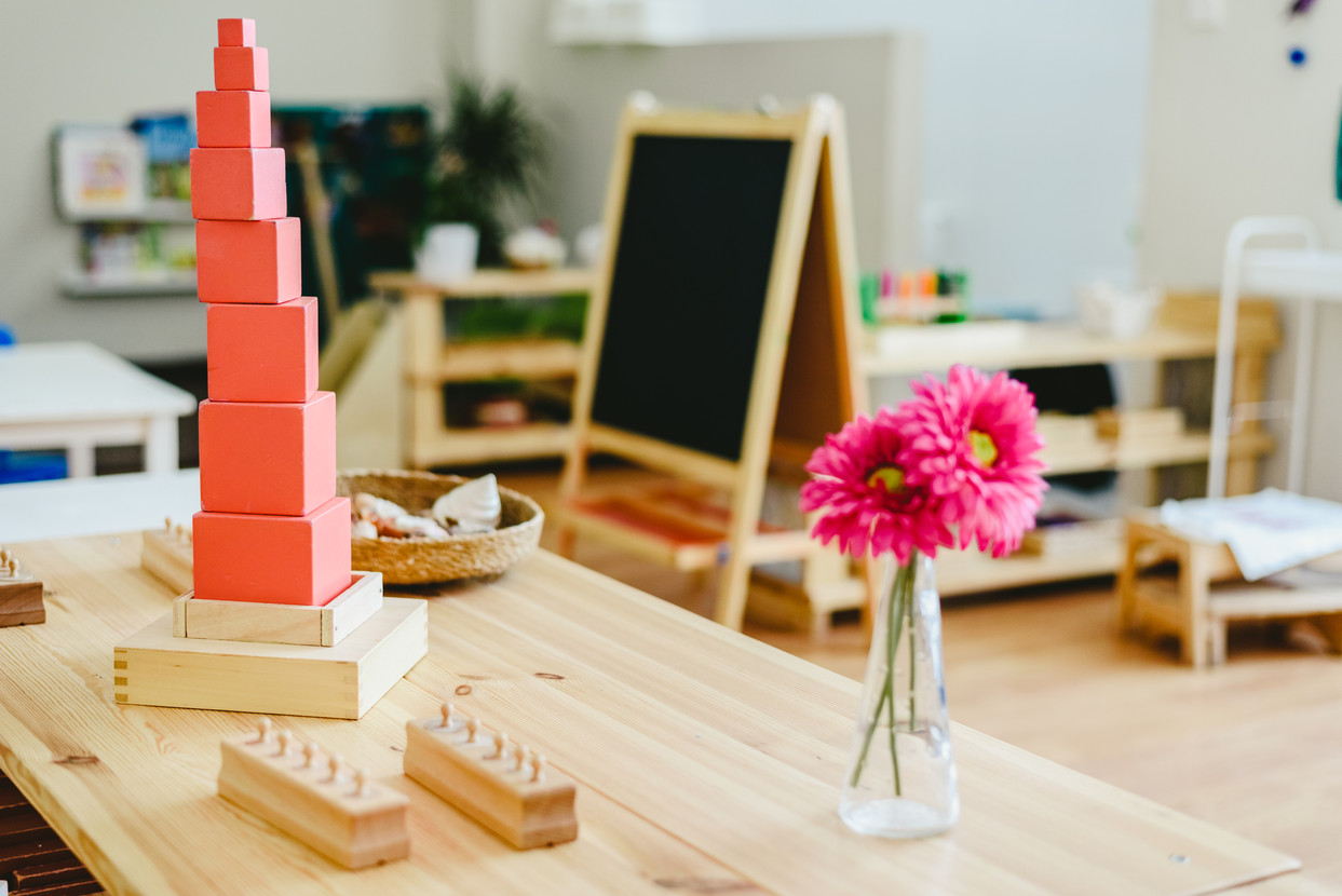 Pink tower in montessori classroom with