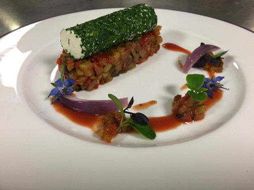 goats cheese herb rolade and ratatouille