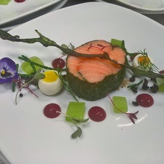 Poached salmon with herbs