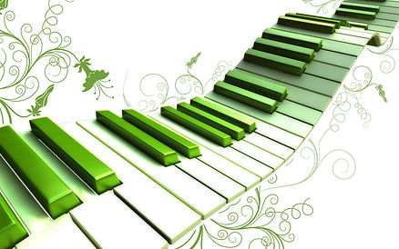 A winding keyboard going up in green and white.