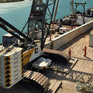 Barge Operations with 400 Ton Crawler Crane