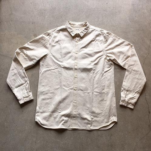 裏絹紬表綿高密度シャツ 生成 サイズ4