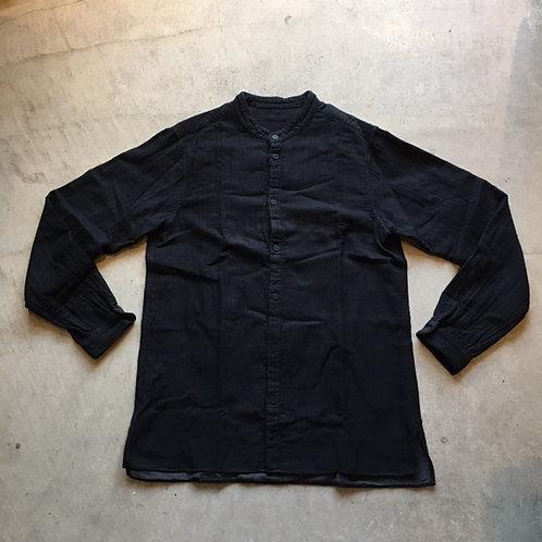 三重織綿麻シャツ 黒がさね サイズ4