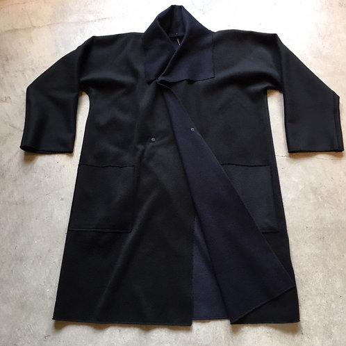 ウールリバーコート 黒x紺 サイズ1