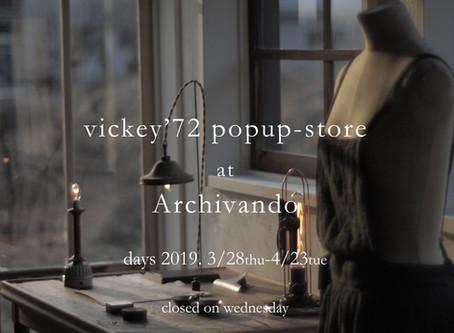 vickey'72 popup-store at Archivando
