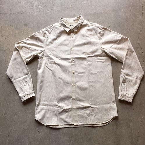 裏絹紬表綿高密度シャツ 生成 サイズ3