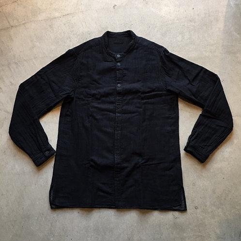 三重織綿麻シャツ 黒がさね サイズ3