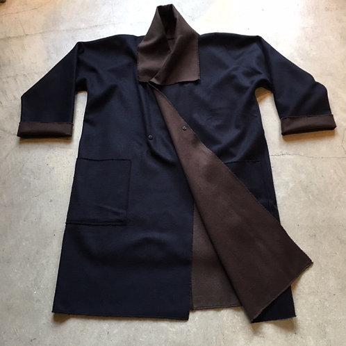ウールリバーコート 紺x茶 サイズ1