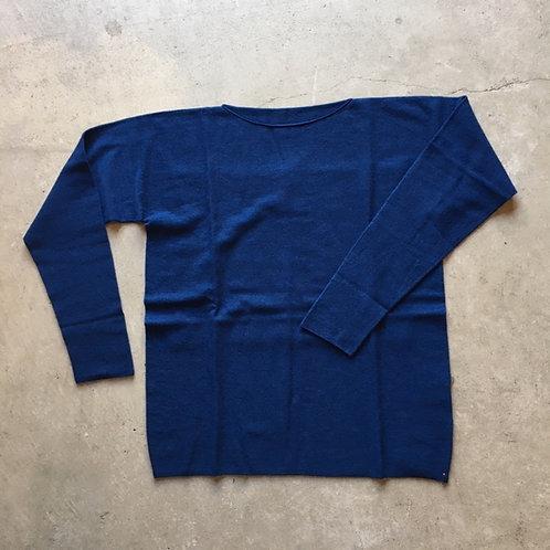 強撚ウールニット長袖 青 サイズ1