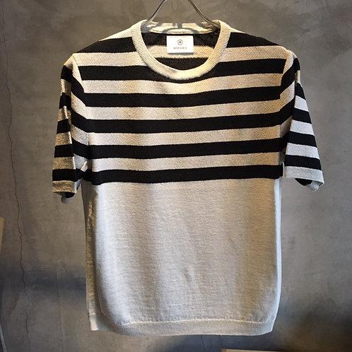 Border Kanoko Knit T-Shirts Gray size M