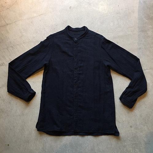 三重織綿麻シャツ 紺がさね サイズ2