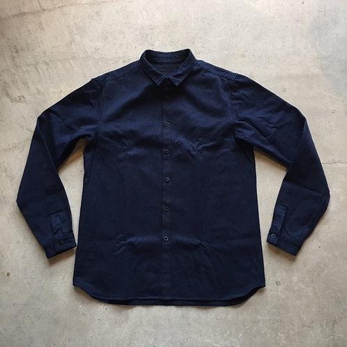 裏絹紬表綿高密度シャツ 濃紺 サイズ4