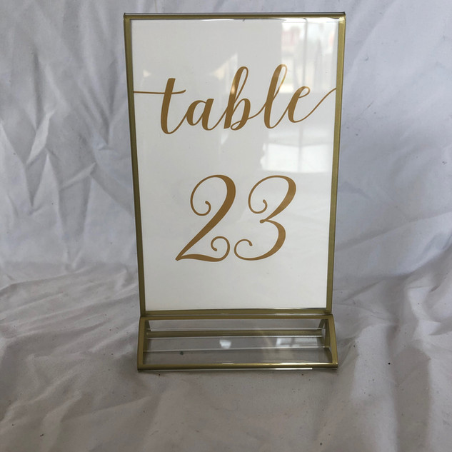 White and Gold Table Number