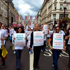 Peter Tatchell marching for LGBT & Muslim Solidarity at London Pride © Christopher Amos  @Netflix @NetflixFilm @Most @TatchellMovie