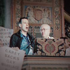 Peter Tatchell protesting at the Archbishop of Canterbury's Easter Sermon in the Westminster Cathedral in 1998 © Adrian Arbib  @Netflix @NetflixFilm @Most @TatchellMovie