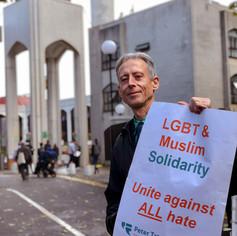 Peter Tatchell at a London Mosque © Christopher Amos  @Netflix @NetflixFilm @Most @TatchellMovie