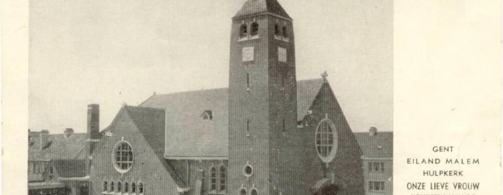 Beeld van de kerk vóór de buitenschildering ( uitgevoerd in het najaar van 1967)