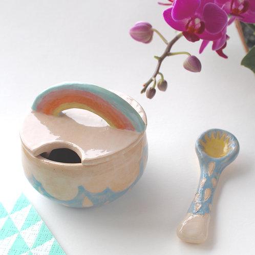 Rainbow Sugar Bowl With Sun Spoon