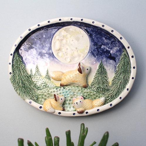 Full Moon over Fox Forest. Folk style ceramic art wall hanging decor, shadow box