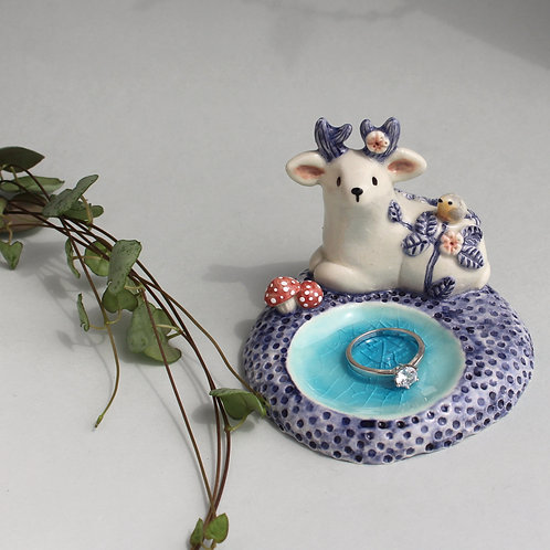 Deer with robin, fresh water pool & wild rose shrub. Cone incense/ring holder