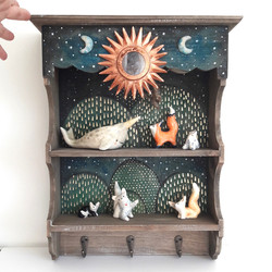SHELF WITH CERAMIC MOONS AND ACRYLIC
