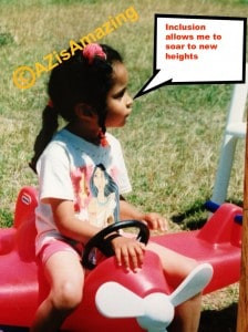 a young girl sits on a Little Tykes airplane; speech bubble reads inclusion allows me to soar to new heights