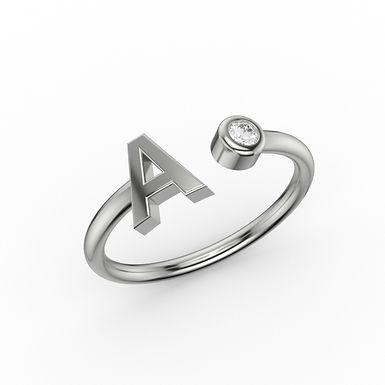 Initial & Diamond Ring