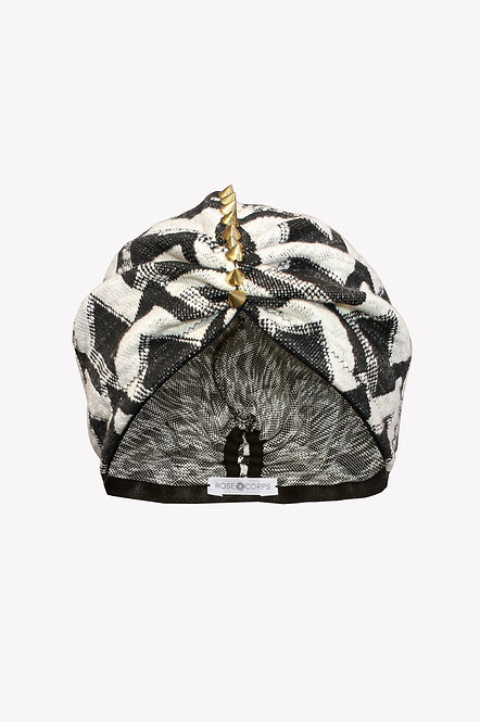 Black and white winter turban hat by Rose Corps