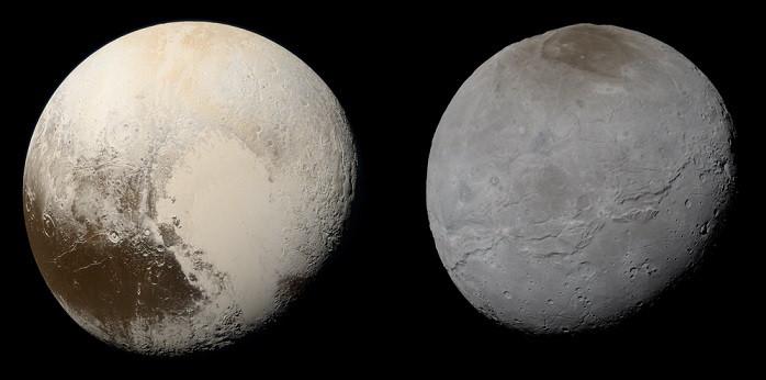 Plutão e Caronte em cores naturais