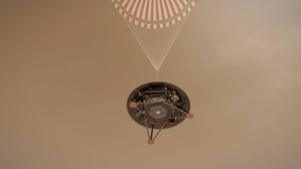 Ilustração da InSight descendo em Marte
