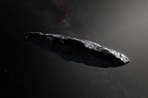 Impressão artística do objeto interestelar Oumuamua
