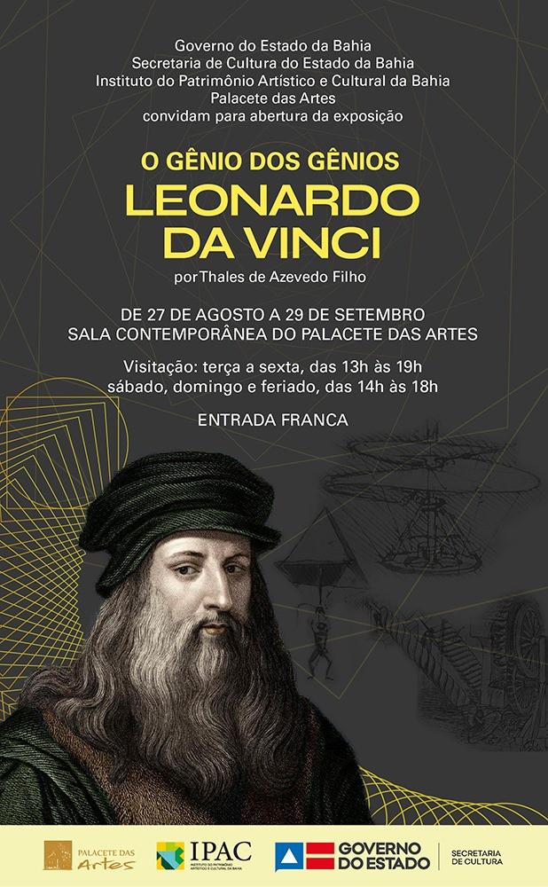 Cartaz da exposição O Gênio dos Gênios Leonardo da Vinci