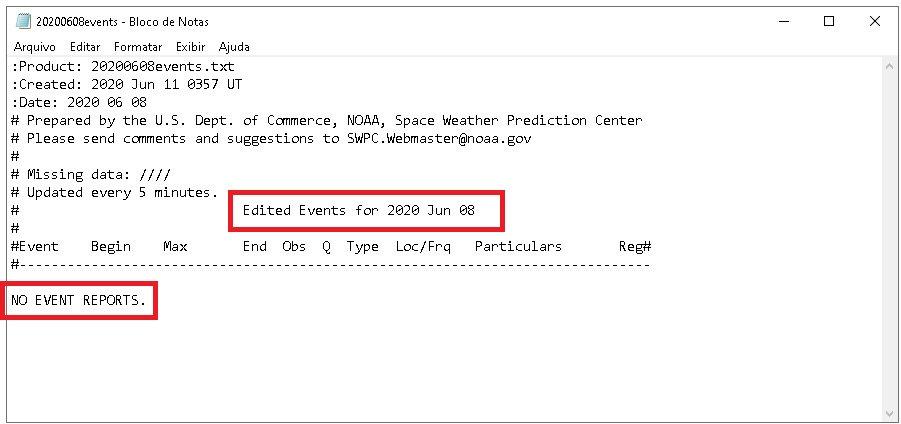 consulta ao relatório do NOAA do dia 08/06/2020