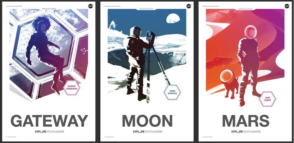 Posteres do projeto Moon2Mars da NASA