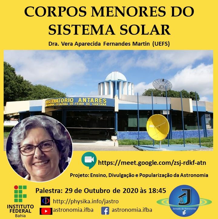 Palestra Corpos Menores do Sistema Solar, com Dra. Vera Martin