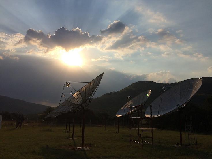 Primeiras quatro antenas do protótipo HIRAX 2017