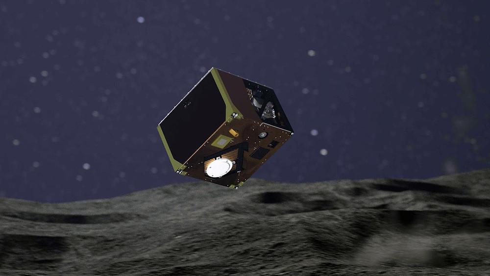Ilustração da sonda MASCOT em Ryugu