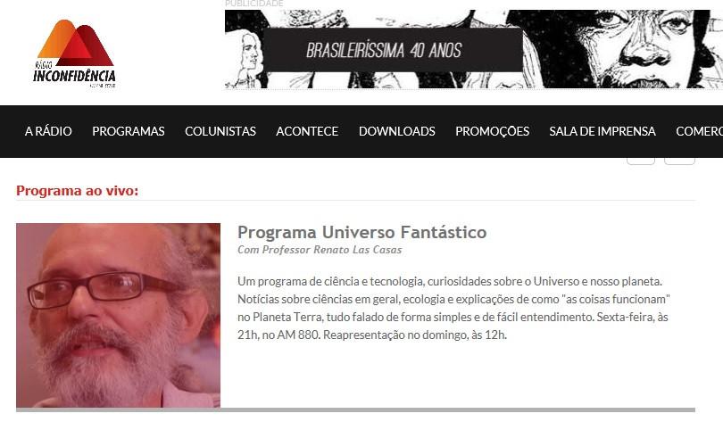 Programa Universo Fantástico Rádio Inconfidência AM