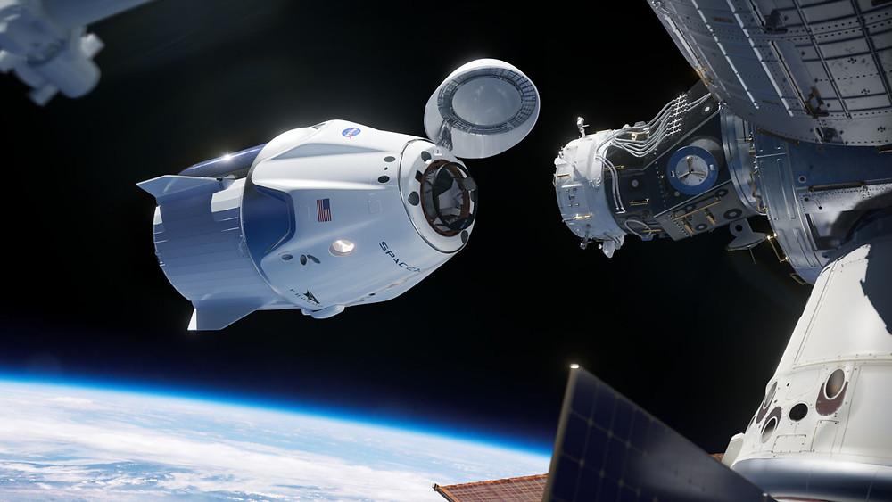Visão artística da Crew Dragon na ISS