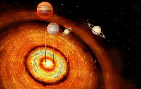 Quatro planetas gigantes orbitam estrela jovem