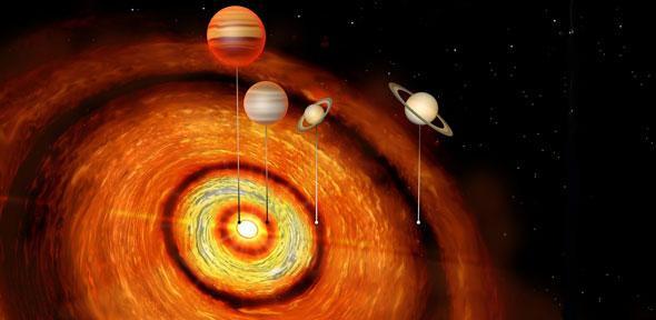 Impressão artística do sistema planetário CI Tau