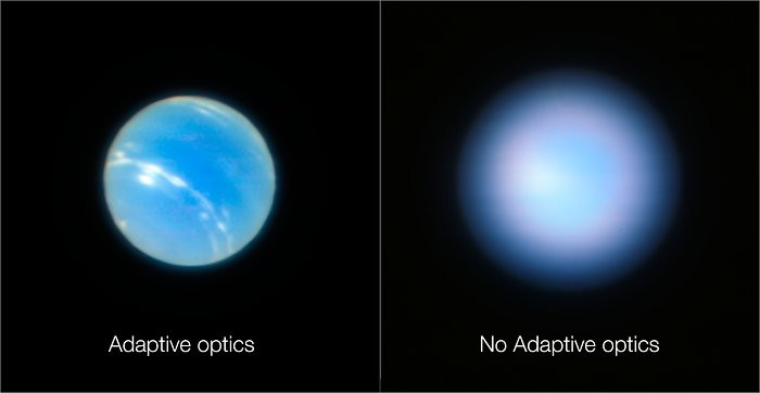 Netuno com e sem óptica adaptativa do ESO/VLT