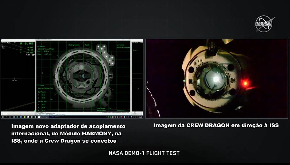 Crew Dragon acoplando na ISS