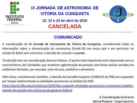 JASTRO-2020: IX Jornada de Astronomia de Vitória da Conquista - COMUNICADO O CANCELAMENTO