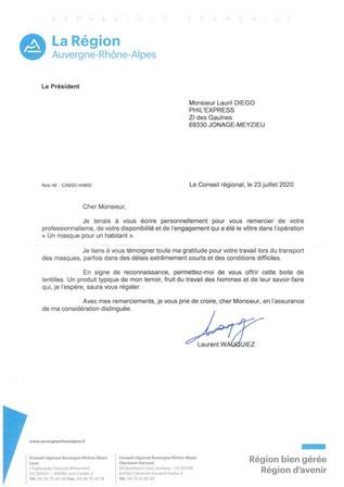 [Covid-19] Remerciement du Conseil Régional pour notre professionnalisme