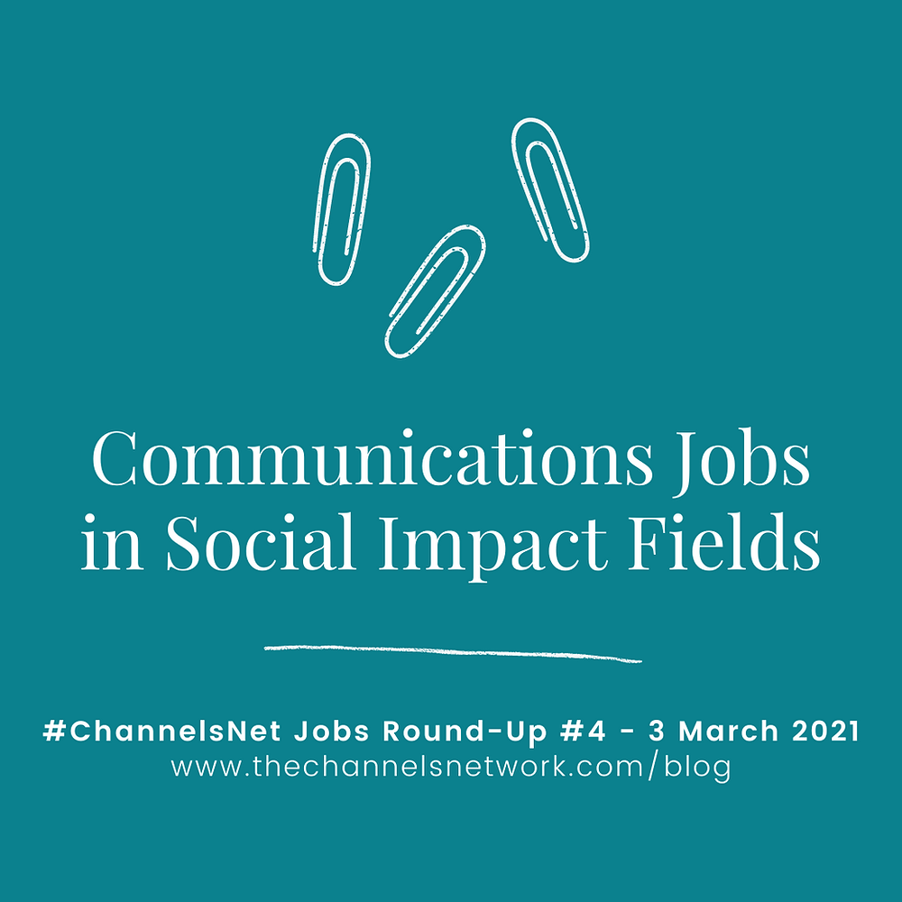 graphic with white text on turquoise background saying 'communications jobs in social impact fields'