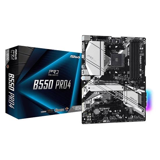 ASRock B550 Pro4 AMD Socket AM4 ATX HDMI/VGA Dual M.2 USB C 3.2 RGB Motherboard