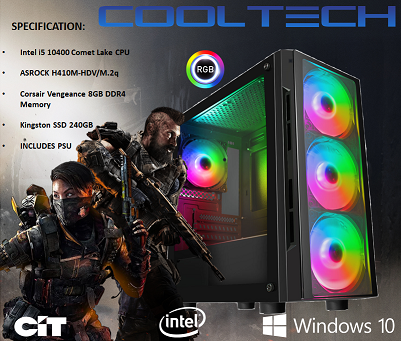 CTG25 Intel i5 10400 Comet Lake with 8GB RAM + 240GB SSD - PRE-BUILT SYSTEM